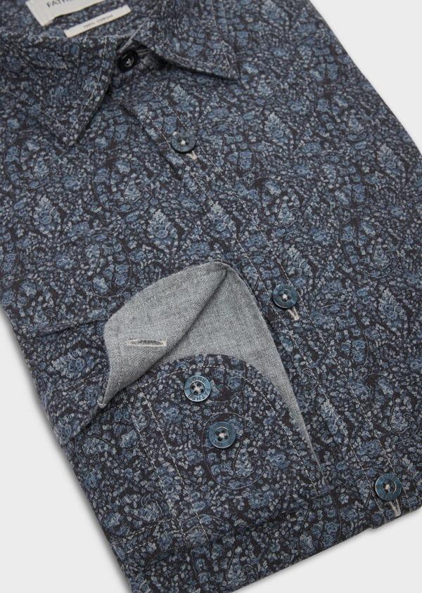 Chemise sport Slim en flannelle de coton bleu marine à motif fantaisie - Father and Sons 36590