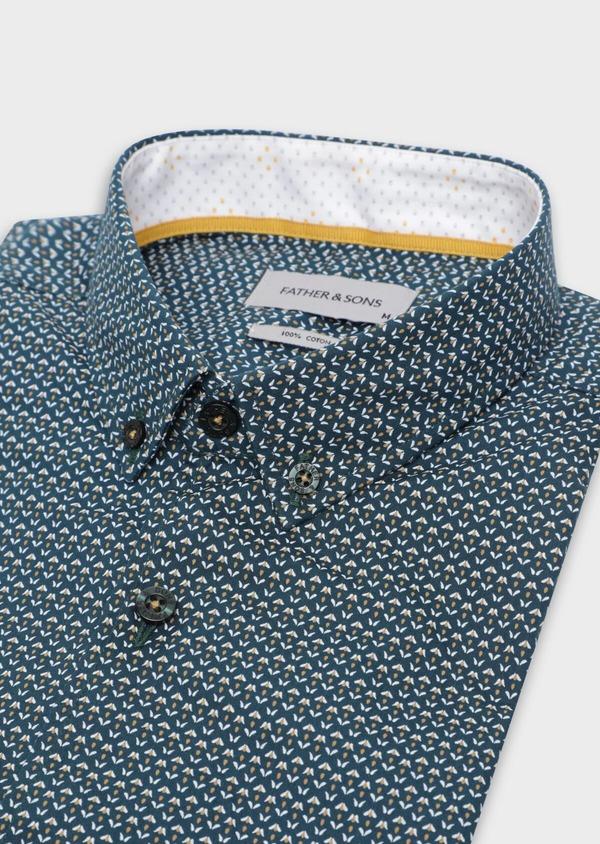 Chemise sport Slim en popeline de coton bleu à motif fantaisie - Father and Sons 35650