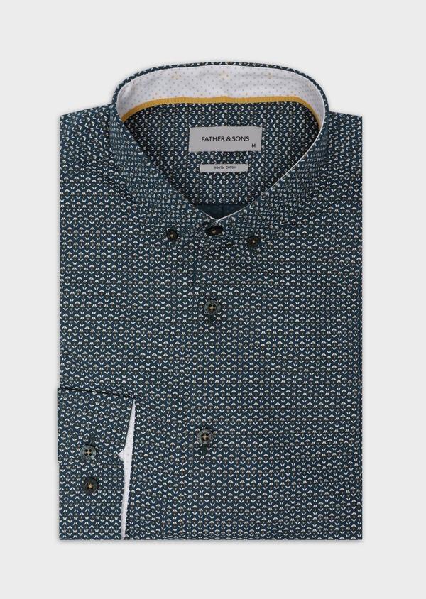 Chemise sport Slim en popeline de coton bleu à motif fantaisie - Father and Sons 35648