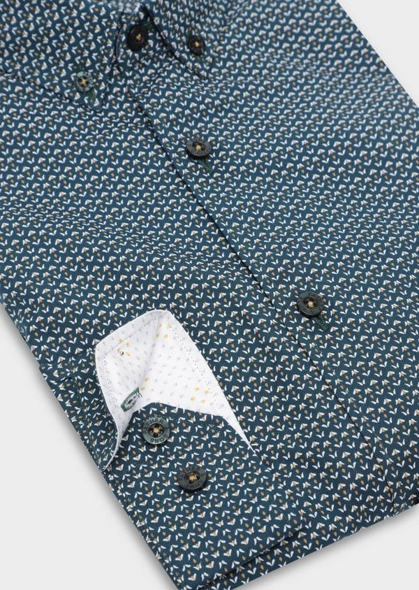 Chemise sport Slim en popeline de coton bleu à motif fantaisie - Father and Sons 35651