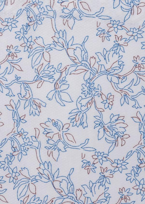 Chemise sport Slim en coton façonné blanc à motif fleuri - Father and Sons 35744