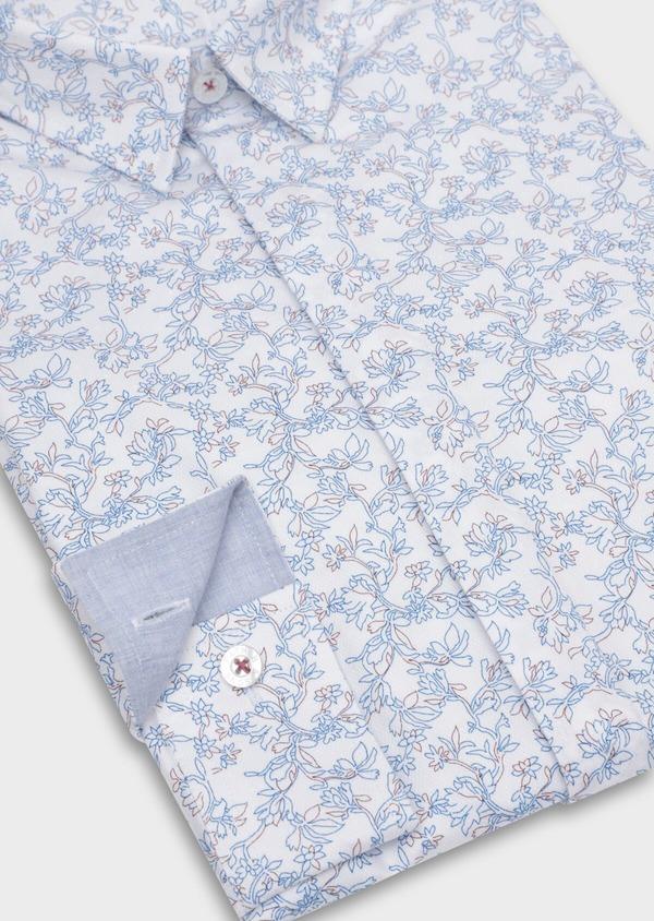 Chemise sport Slim en coton façonné blanc à motif fleuri - Father and Sons 35746