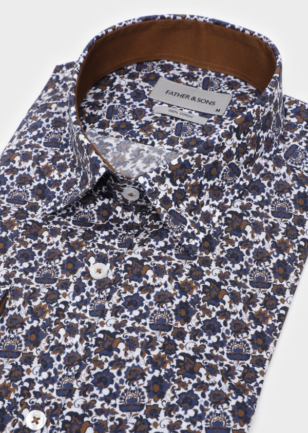Chemise sport Slim en popeline de coton blanc à motif fleuri - Father and Sons 35712
