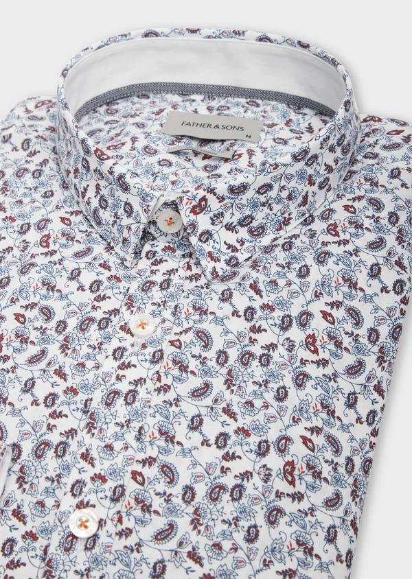 Chemise sport Slim en popeline de coton blanc à motif fleuri rouge et bleu ciel - Father and Sons 38606