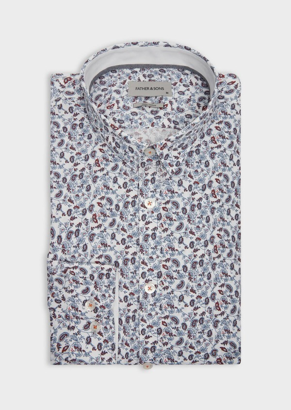 Chemise sport Slim en popeline de coton blanc à motif fleuri rouge et bleu ciel - Father and Sons 38604