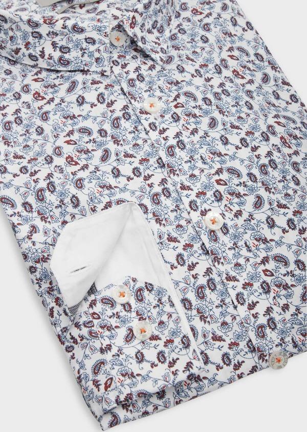 Chemise sport Slim en popeline de coton blanc à motif fleuri rouge et bleu ciel - Father and Sons 38607