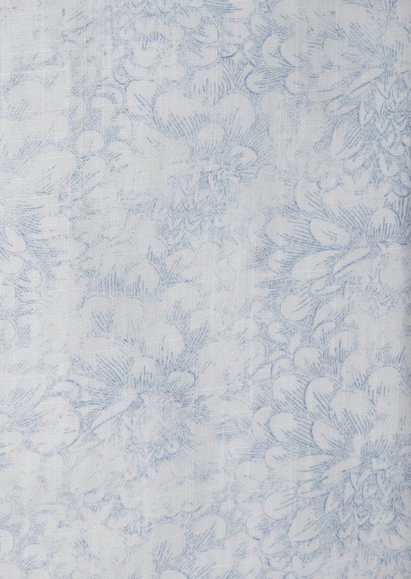 Chemise sport Slim en popeline de coton blanc à motif fleuri bleu - Father and Sons 38432