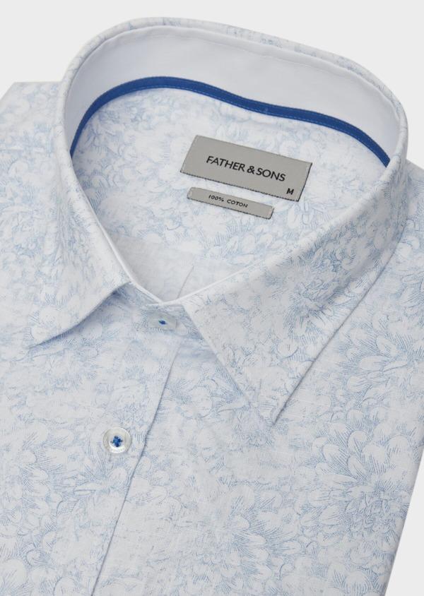 Chemise sport Slim en popeline de coton blanc à motif fleuri bleu - Father and Sons 38433