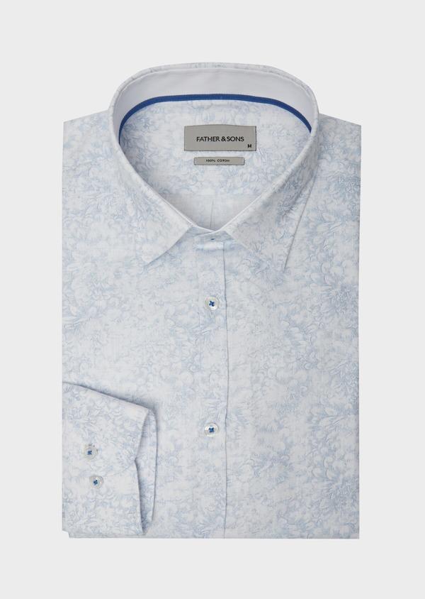 Chemise sport Slim en popeline de coton blanc à motif fleuri bleu - Father and Sons 38431