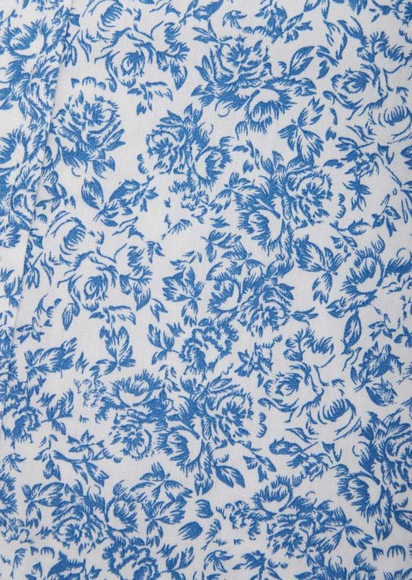 Chemise sport Slim en popeline de coton blanc à motif fleuri bleu - Father and Sons 38637