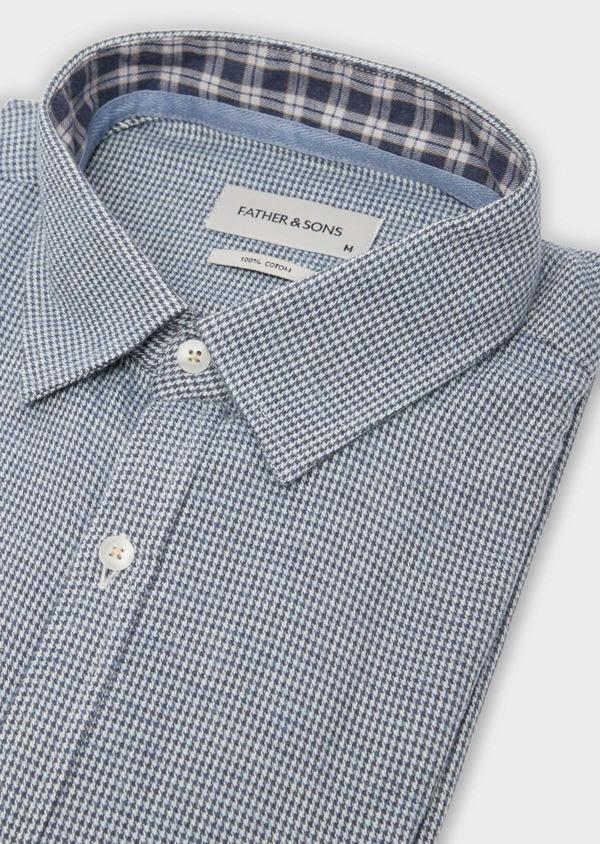 Chemise sport Slim en popeline de coton bleu à motif fantaisie - Father and Sons 36577