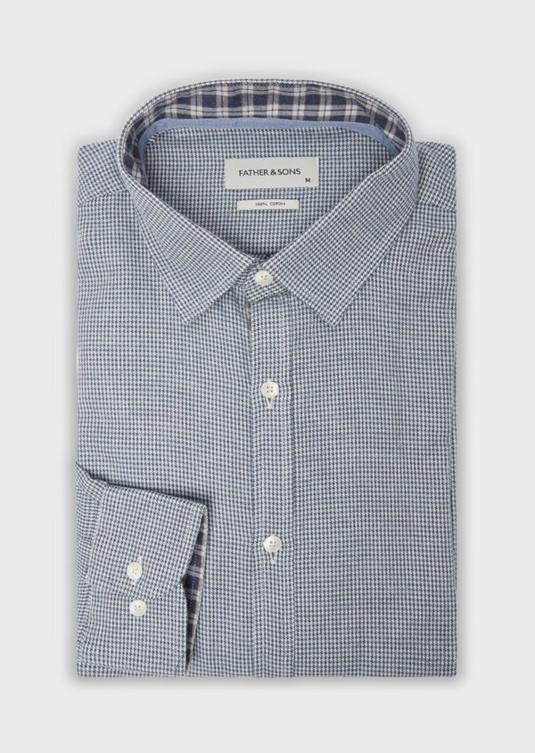 Chemise sport Slim en popeline de coton bleu à motif fantaisie - Father and Sons 36575