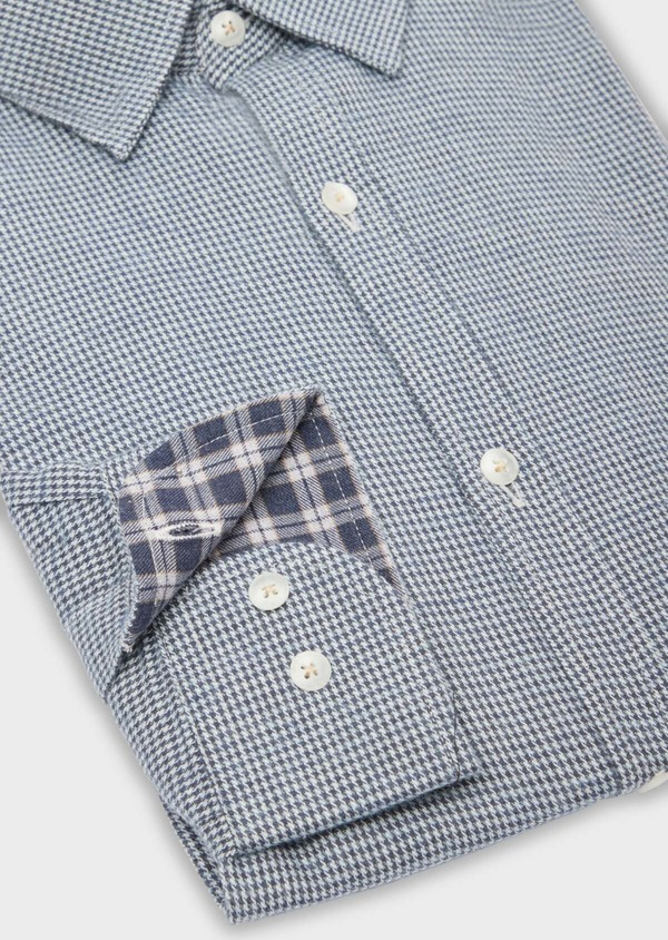 Chemise sport Slim en popeline de coton bleu à motif fantaisie - Father and Sons 36578
