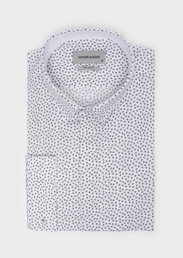 Chemise sport Slim en popeline de coton blanc à motifs géométriques - Father and Sons 35702