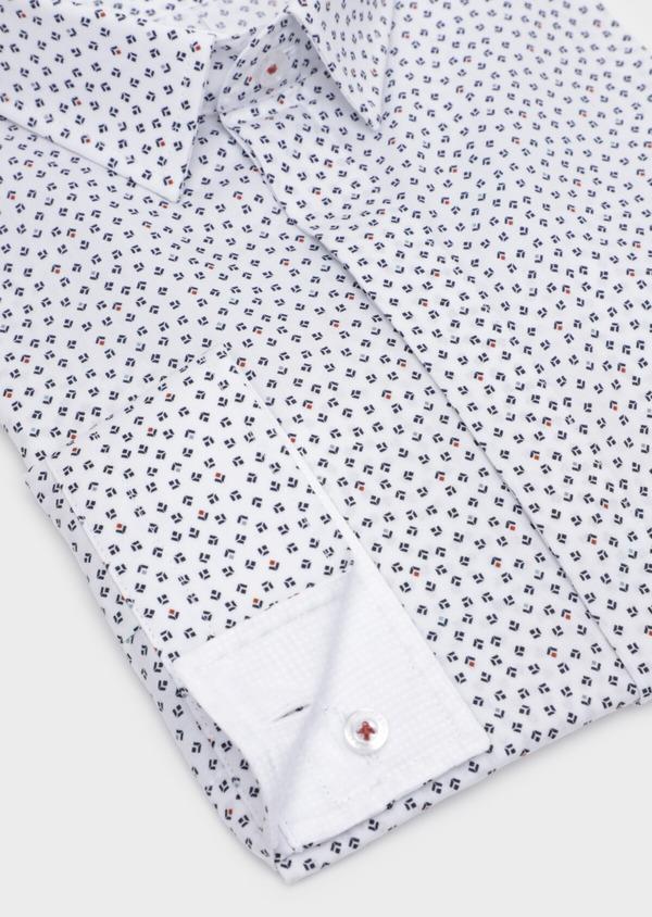 Chemise sport Slim en popeline de coton blanc à motifs géométriques - Father and Sons 35705