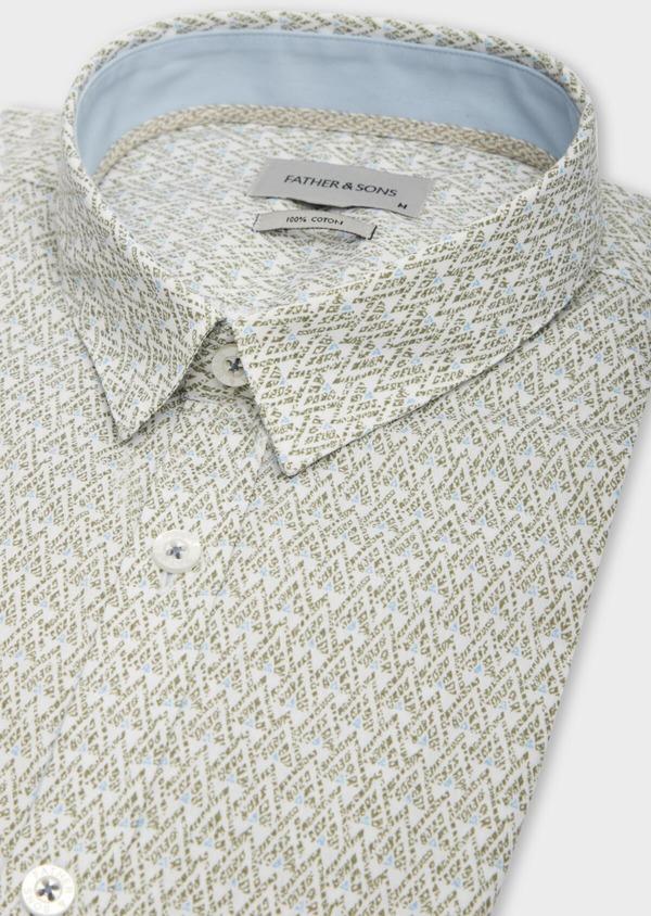 Chemise sport Slim en popeline de coton blanc à motifs géométriques - Father and Sons 38610