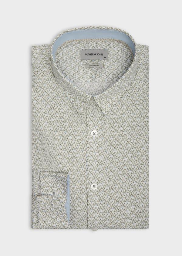 Chemise sport Slim en popeline de coton blanc à motifs géométriques - Father and Sons 38608
