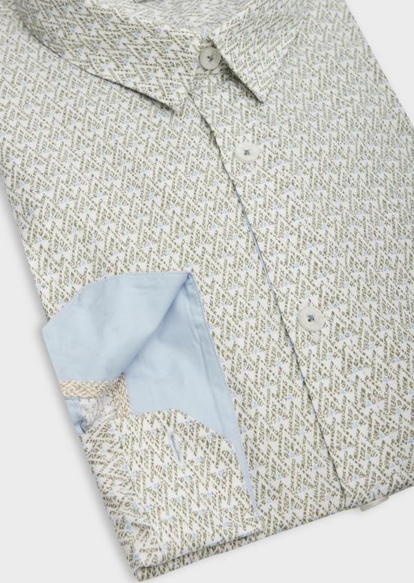 Chemise sport Slim en popeline de coton blanc à motifs géométriques - Father and Sons 38611