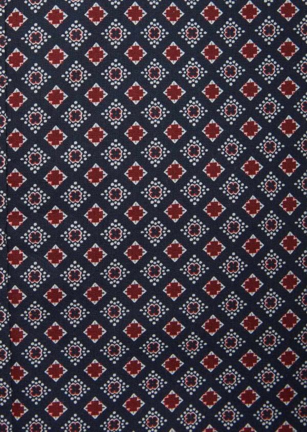 Chemise sport Slim en popeline de coton bleu marine à motifs géométriques rouge et blanc - Father and Sons 38629
