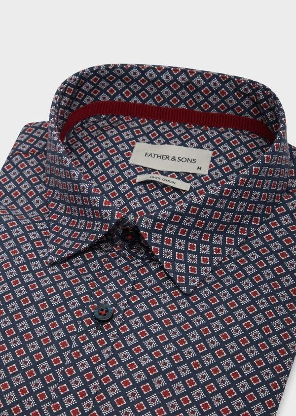 Chemise sport Slim en popeline de coton bleu marine à motifs géométriques rouge et blanc - Father and Sons 38630