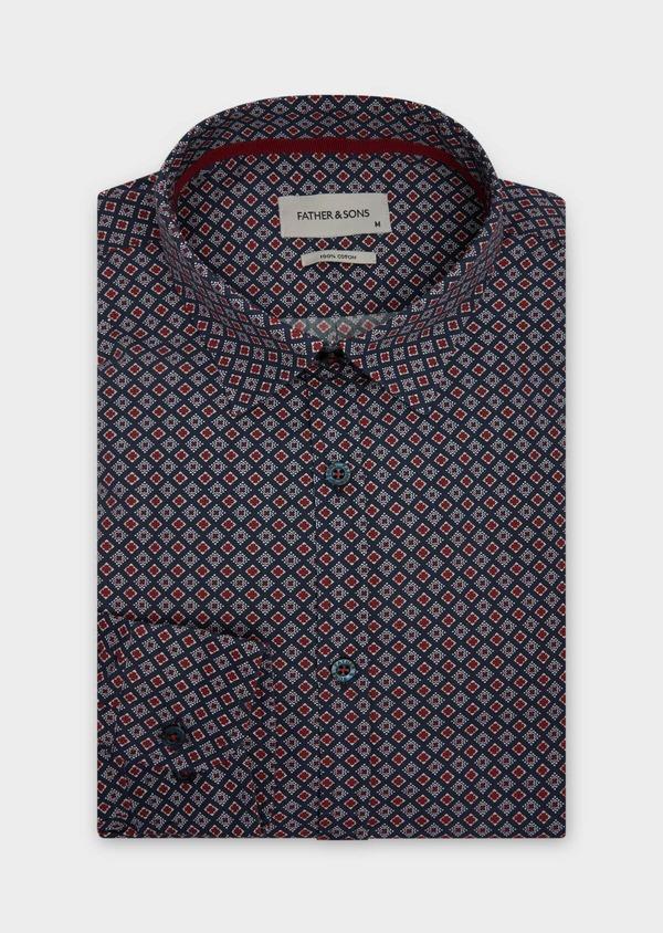 Chemise sport Slim en popeline de coton bleu marine à motifs géométriques rouge et blanc - Father and Sons 38628