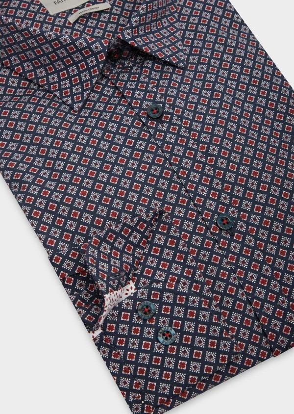Chemise sport Slim en popeline de coton bleu marine à motifs géométriques rouge et blanc - Father and Sons 38631
