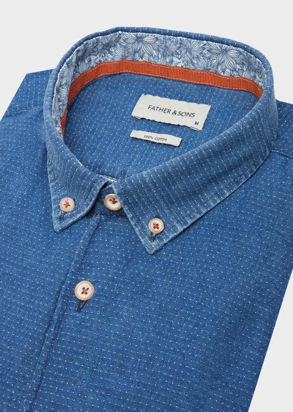 Chemise sport Slim en coton bleu indigo à pois - Father and Sons 40137