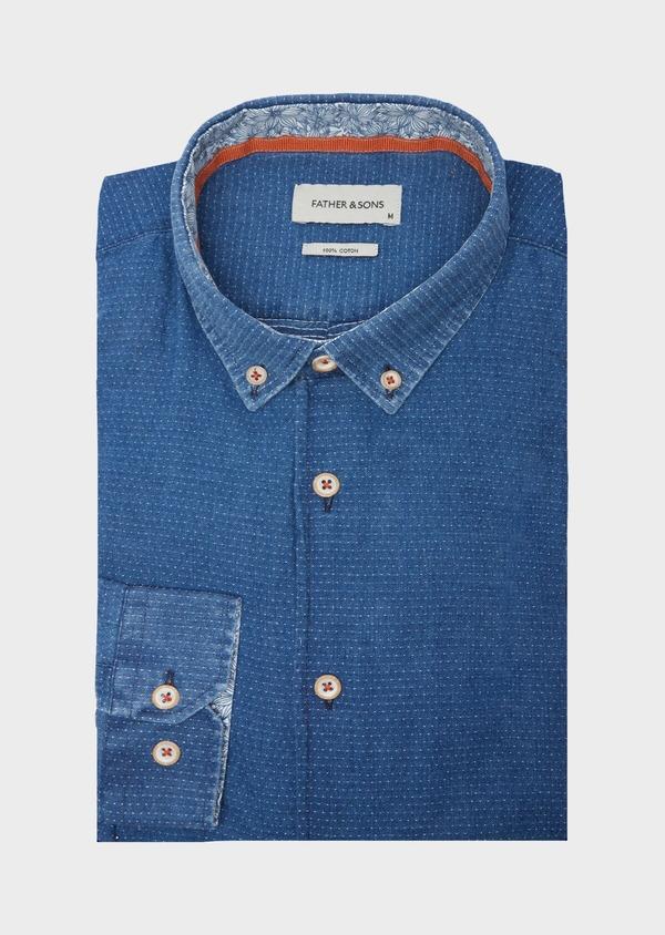 Chemise sport Slim en coton bleu indigo à pois - Father and Sons 40135
