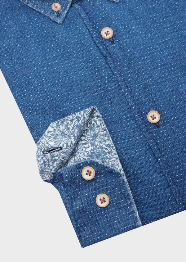 Chemise sport Slim en coton bleu indigo à pois - Father and Sons 40138