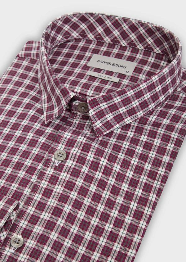 Chemise sport Slim en twill de coton rose à motif Prince-de-Galles - Father and Sons 36300