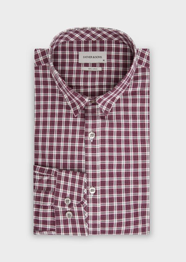 Chemise sport Slim en twill de coton rose à motif Prince-de-Galles - Father and Sons 36298