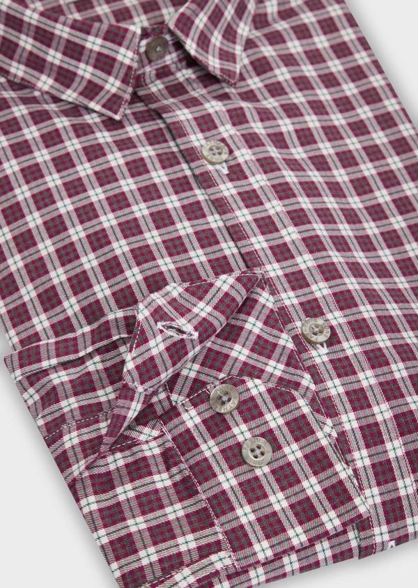 Chemise sport Slim en twill de coton rose à motif Prince-de-Galles - Father and Sons 36301