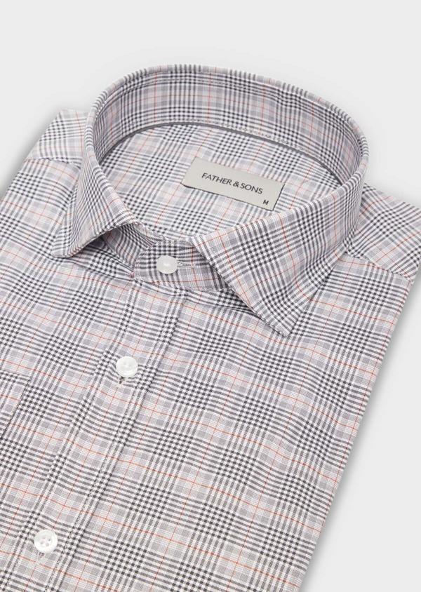 Chemise sport Slim en popeline de coton gris à motif Prince-de-Galles - Father and Sons 36585