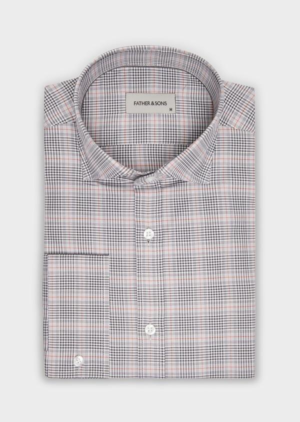 Chemise sport Slim en popeline de coton gris à motif Prince-de-Galles - Father and Sons 36583