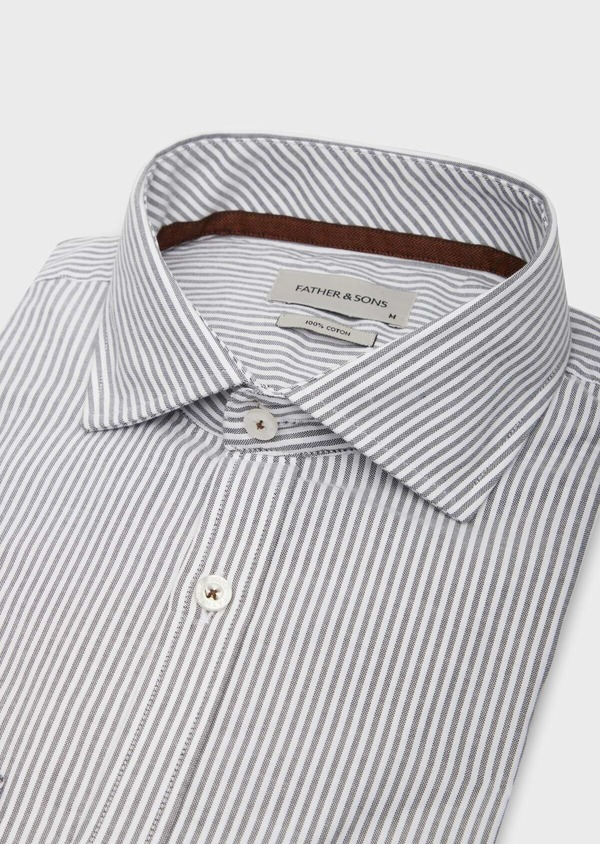 Chemise sport Slim en coton blanc à rayures grises - Father and Sons 38626