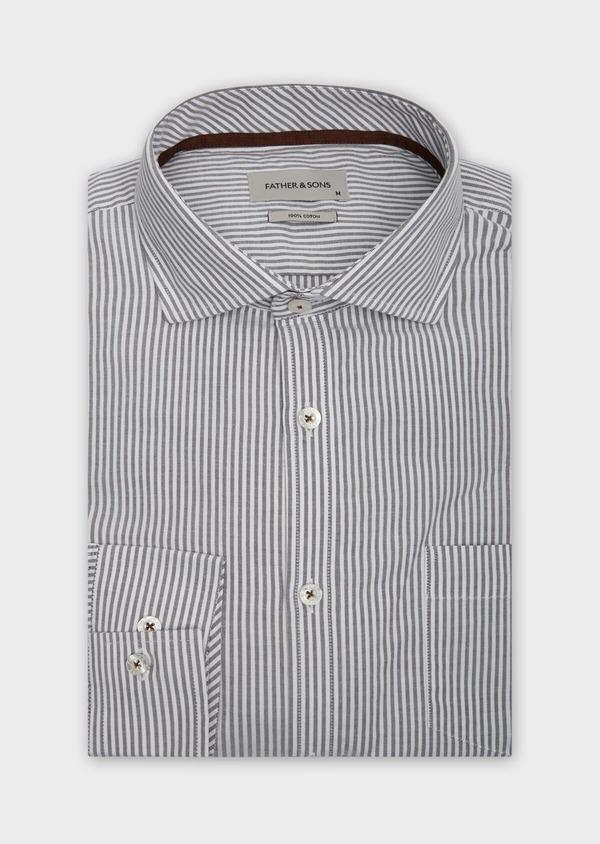 Chemise sport Slim en coton blanc à rayures grises - Father and Sons 38624
