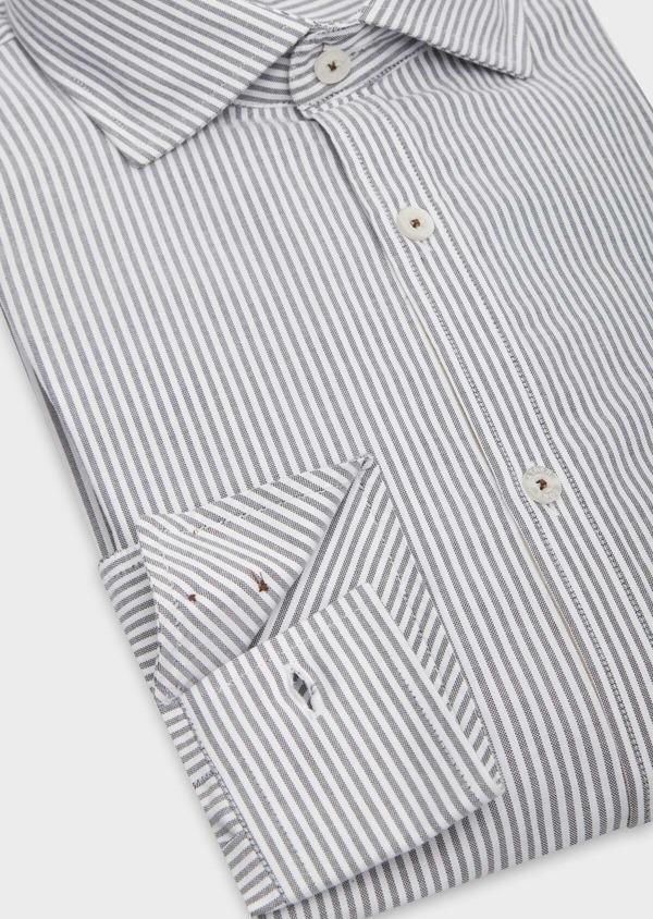 Chemise sport Slim en coton blanc à rayures grises - Father and Sons 38627