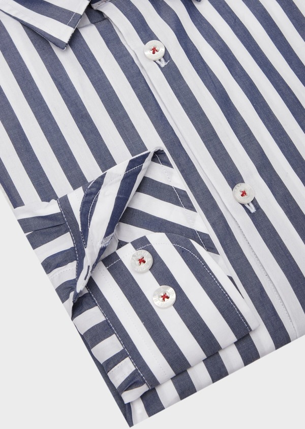 Chemise sport Slim en popeline de coton blanc à rayures - Father and Sons 40142