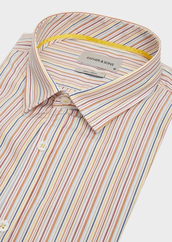 Chemise sport Slim en popeline de coton blanc à rayures - Father and Sons 39482