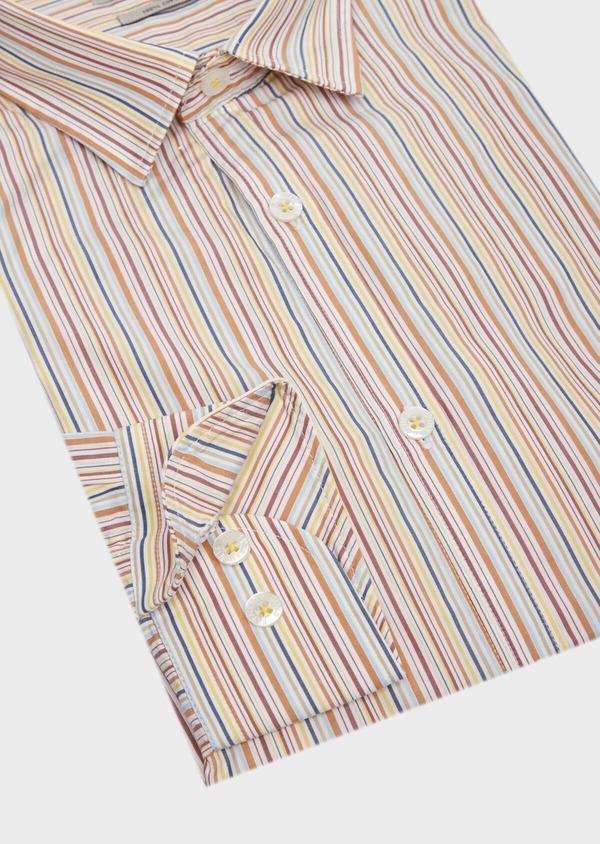 Chemise sport Slim en popeline de coton blanc à rayures - Father and Sons 39483
