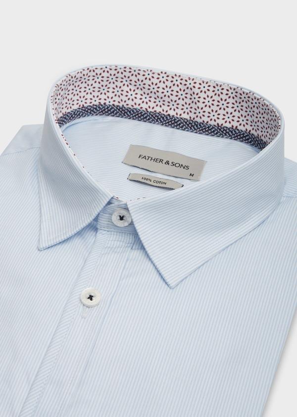 Chemise sport Slim en popeline de coton bleu ciel à fines rayures blanches - Father and Sons 38634