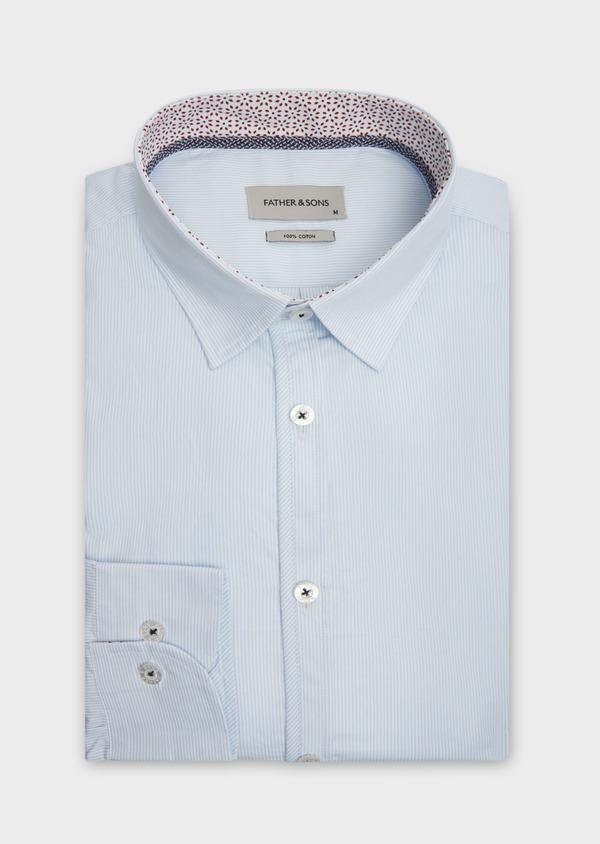 Chemise sport Slim en popeline de coton bleu ciel à fines rayures blanches - Father and Sons 38632