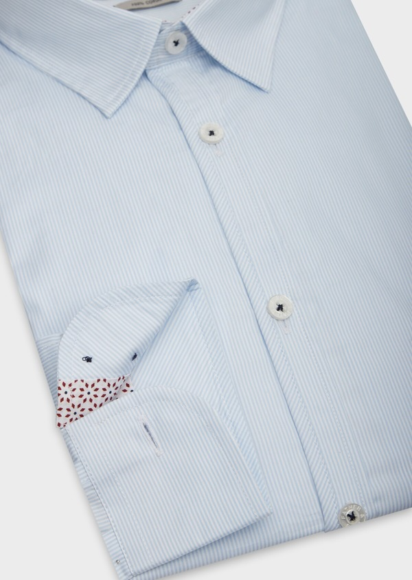 Chemise sport Slim en popeline de coton bleu ciel à fines rayures blanches - Father and Sons 38635