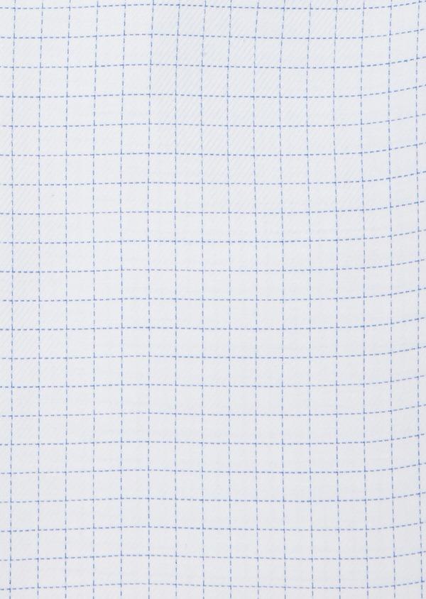 Chemise habillée non-iron Slim en twill de coton blanc à carreaux bleu ciel - Father and Sons 40880