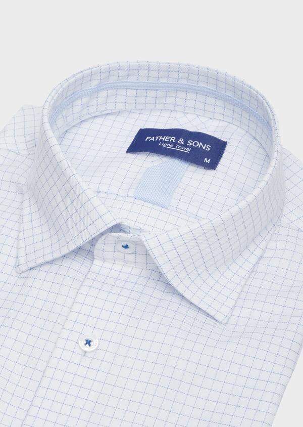 Chemise habillée non-iron Slim en twill de coton blanc à carreaux bleu ciel - Father and Sons 40881