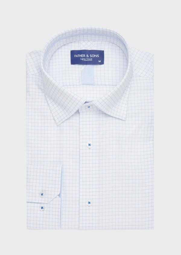 Chemise habillée non-iron Slim en twill de coton blanc à carreaux bleu ciel - Father and Sons 40879