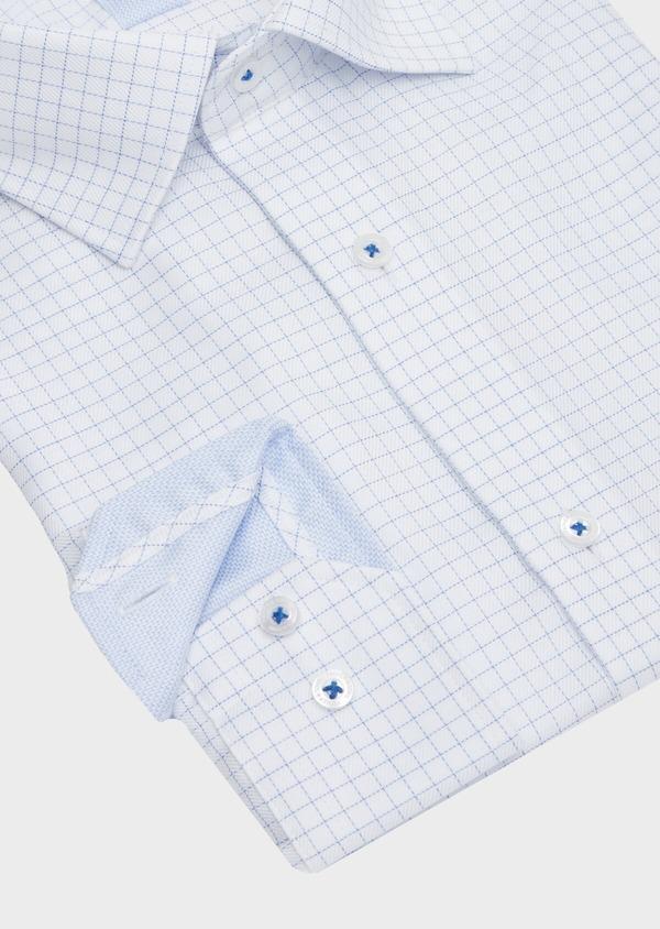 Chemise habillée non-iron Slim en twill de coton blanc à carreaux bleu ciel - Father and Sons 40882