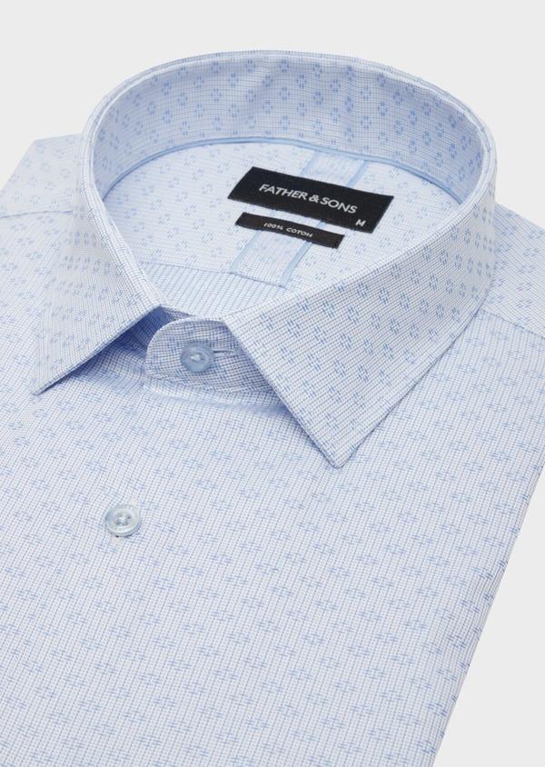 Chemise habillée Regular en coton Jacquard blanc à motif fantaisie bleu - Father and Sons 40849