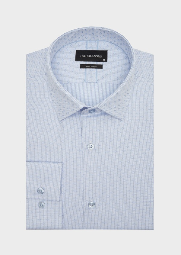 Chemise habillée Regular en coton Jacquard blanc à motif fantaisie bleu - Father and Sons 40847