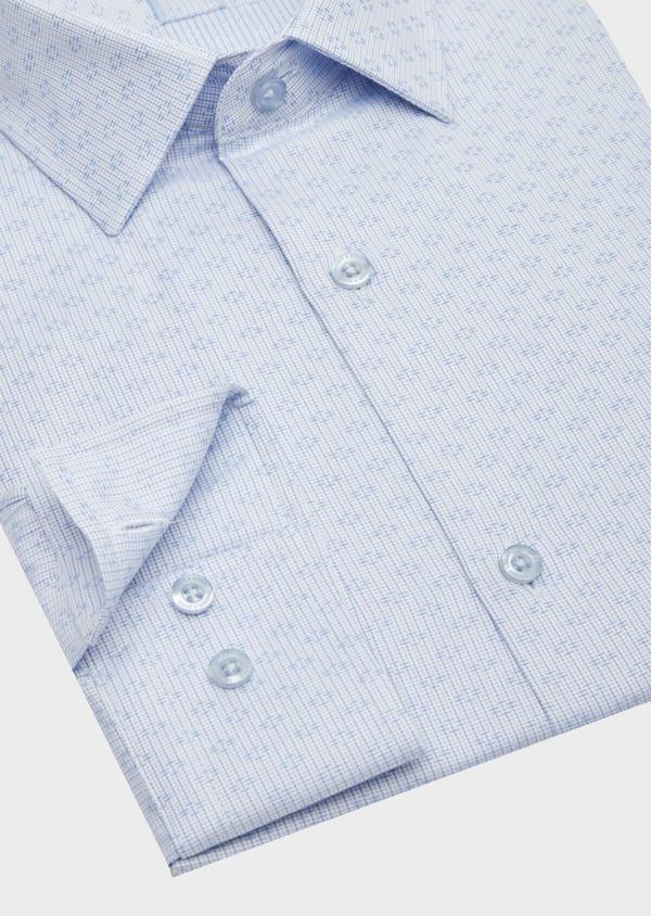 Chemise habillée Regular en coton Jacquard blanc à motif fantaisie bleu - Father and Sons 40850